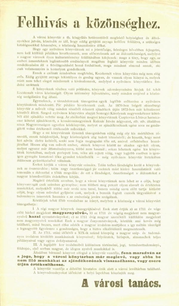 A kecskeméti városi tanács felhívása a könyvtár gyarapítására az 1930-as évekből.