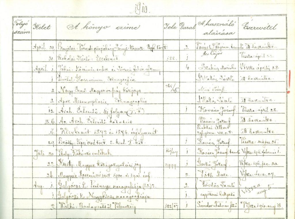 Kölcsönzési napló a 20. század elejéről