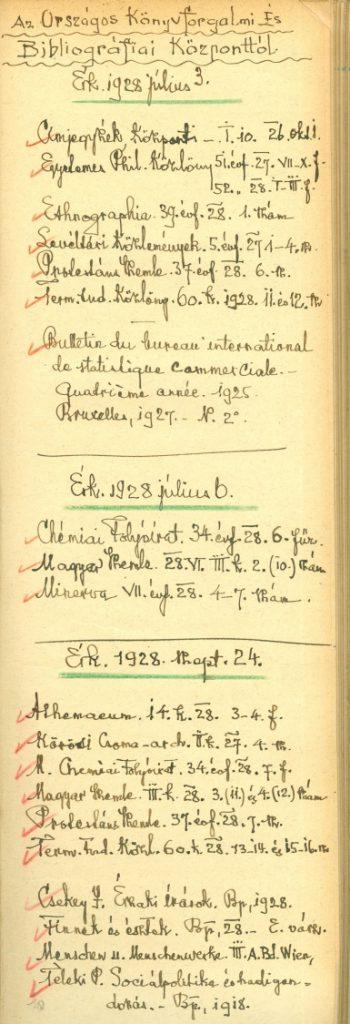 Könyvtári jegyzet füzet az 1920-as évekből