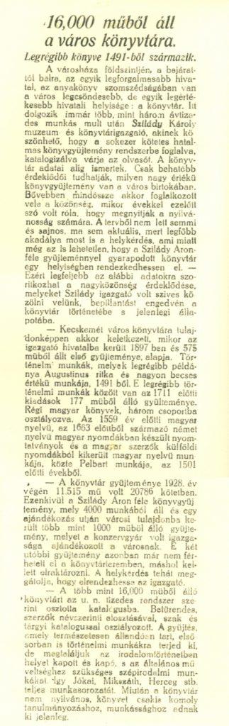 16000 műből áll a város könyvtára - Kecskeméti Közlöny, 1929. ápr. 12.