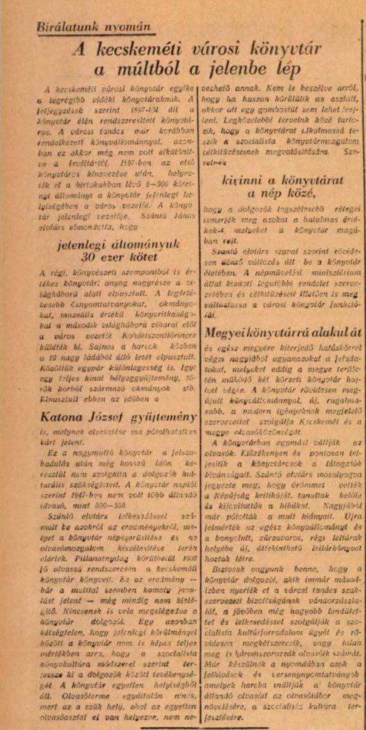 Bácskiskunmegyei Népujság, 1952. május 23.