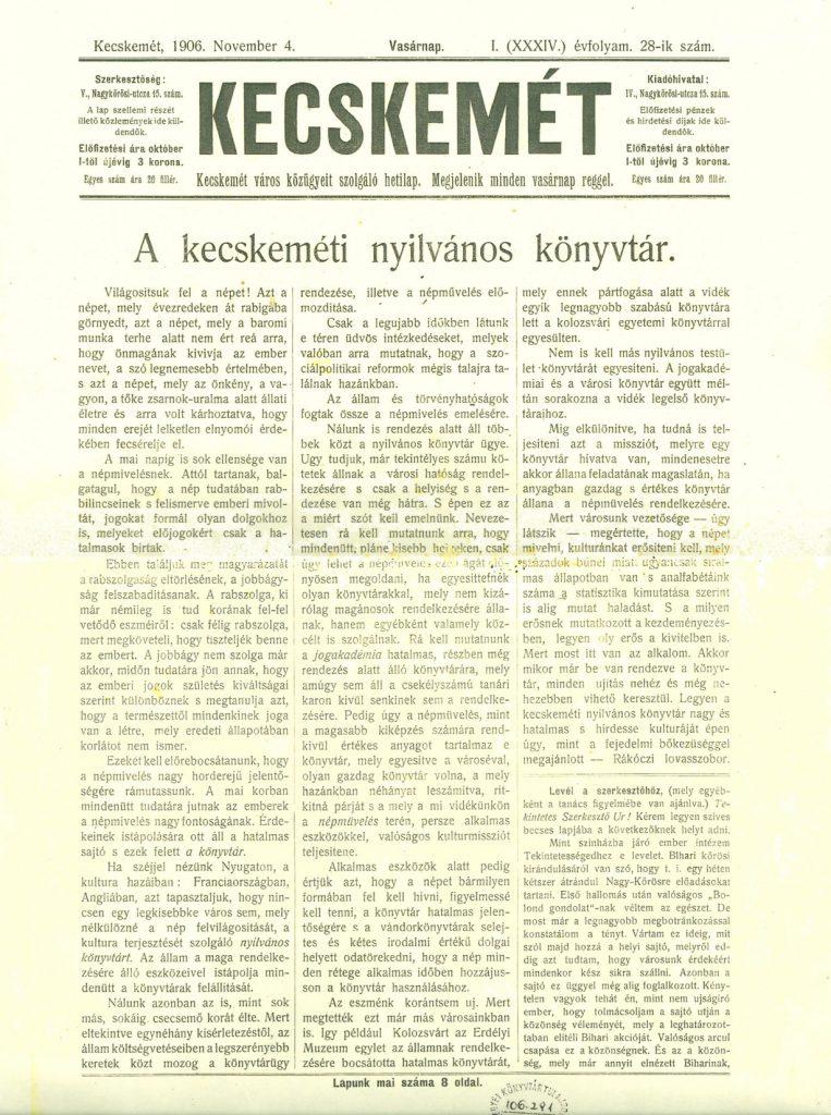 A kecskeméti nyilvános könyvtár - a Kecskemét című hetilap cikke 1906-ban