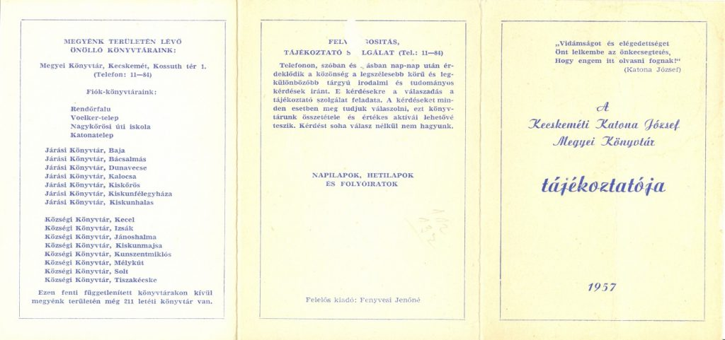 Könyvtári tájékoztató 1957-ből