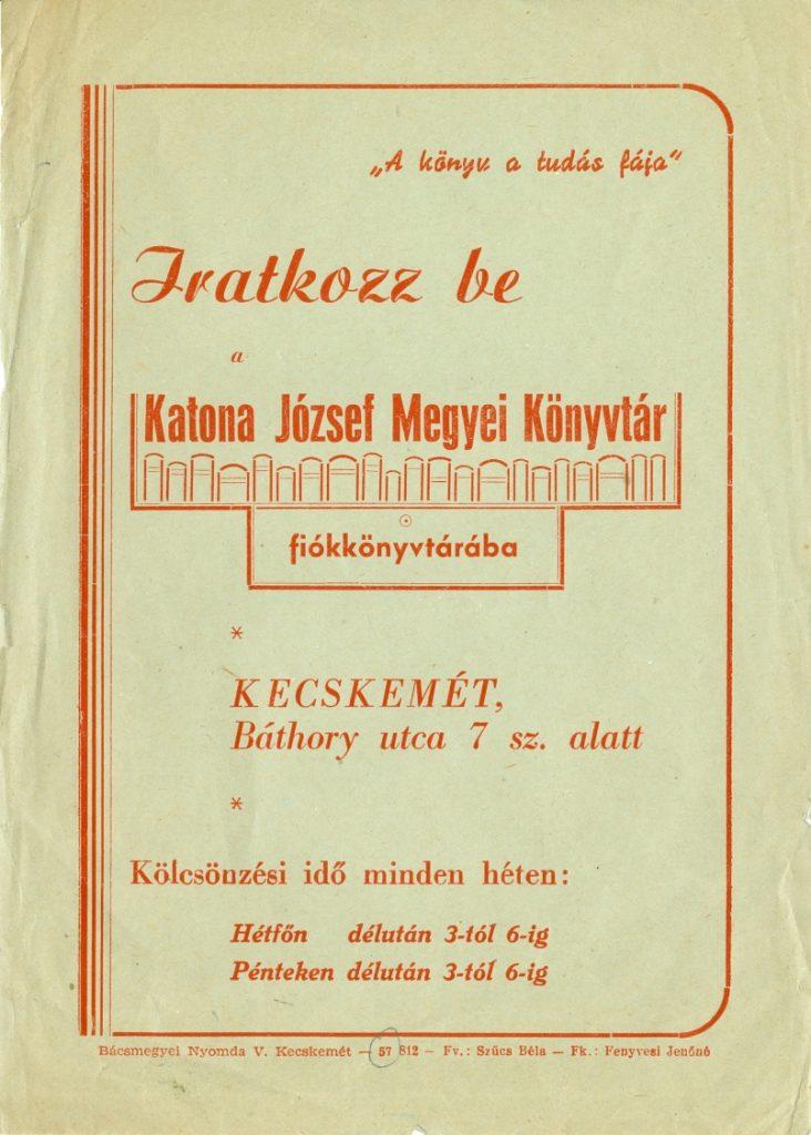 Az első fiókkönyvtár szórólapja, 1957