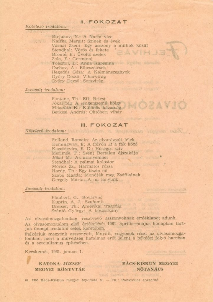 Olvasómozgalom - 1961