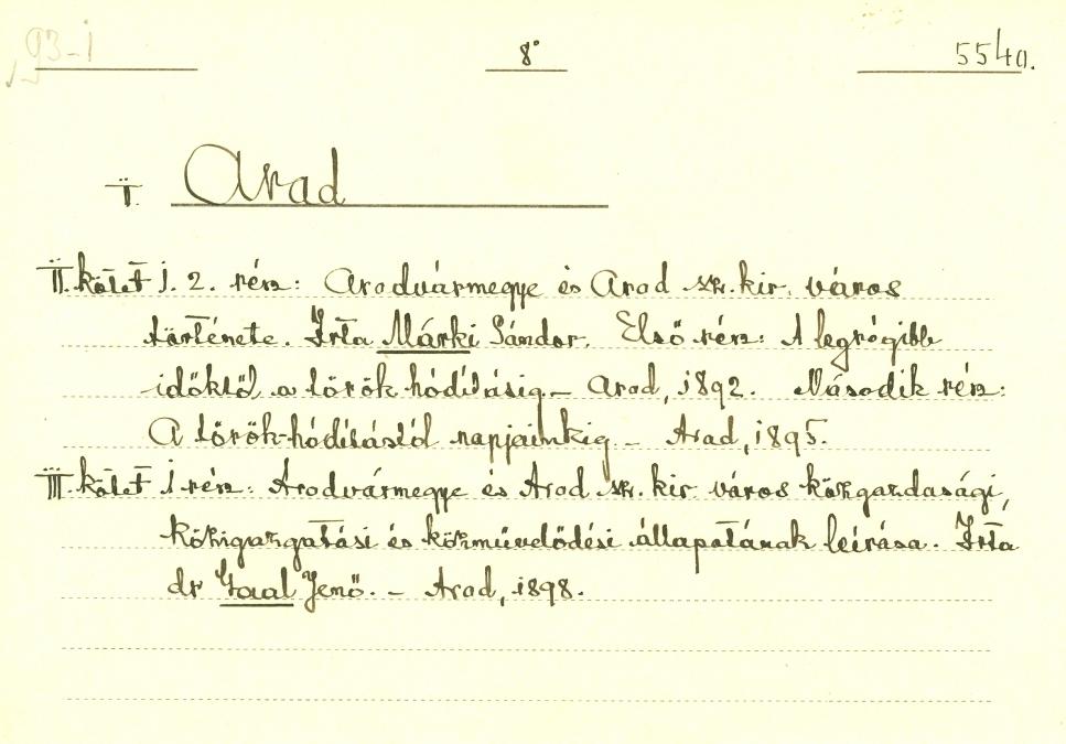 Katalóguscédula - Arad, 2-3. kötet