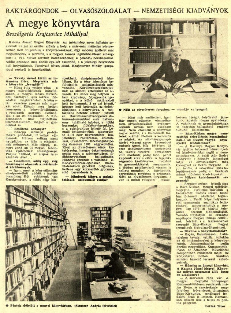 A megye könyvtára : Beszélgetés Krajcsovicz Mihállyal / Borzák Tibor
