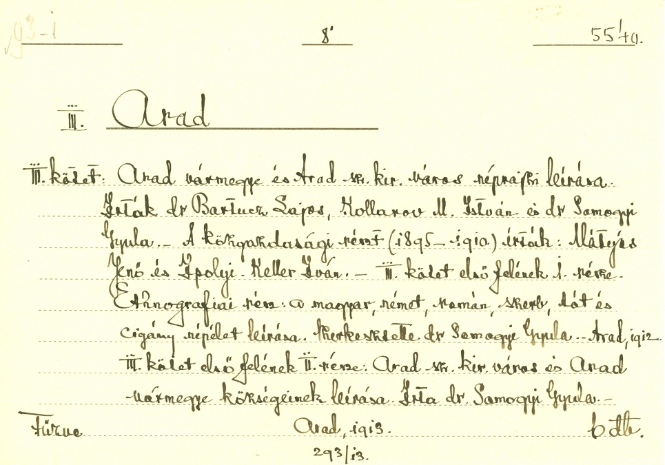 Katalóguscédula - Arad, 3. kötet