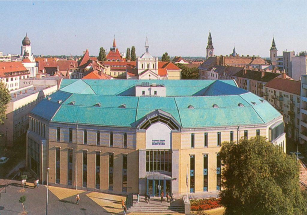 Képeslap az új könyvtárépületről