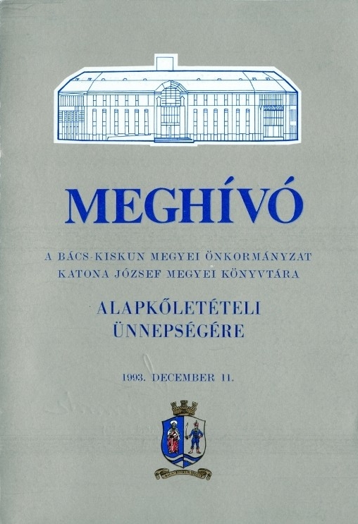 Meghívó alapkőletételi ünnepségre - 1993. december 11.