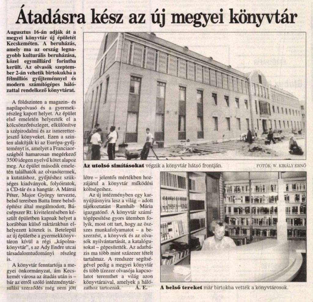 Átadásra kész az új megyei könyvtár - Petőfi népe, 1996. augusztus 8.