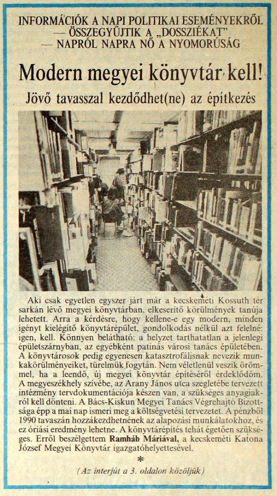 Modern megyei könyvtár kell - Petőfi népe, 1989. november 8.