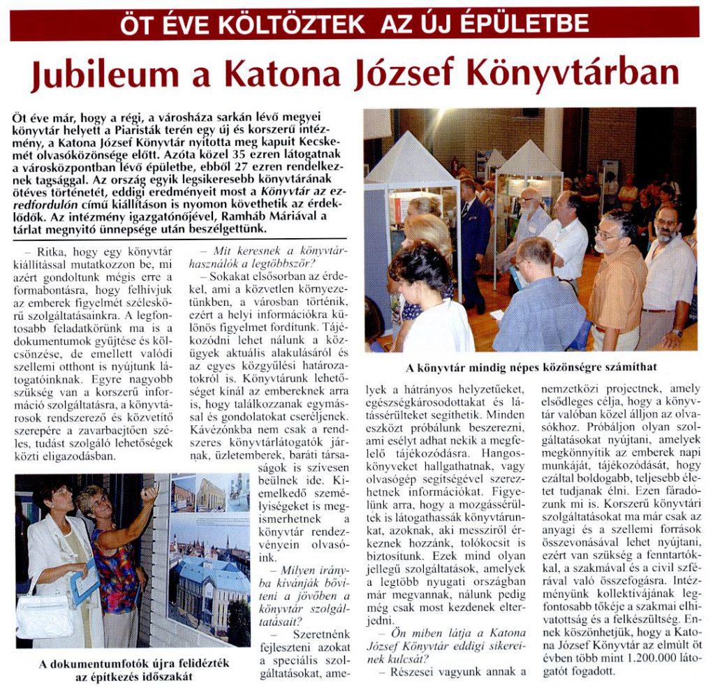 Kecskeméti Lapok - 2001. szeptember 6. - Jelenvaló melléklet