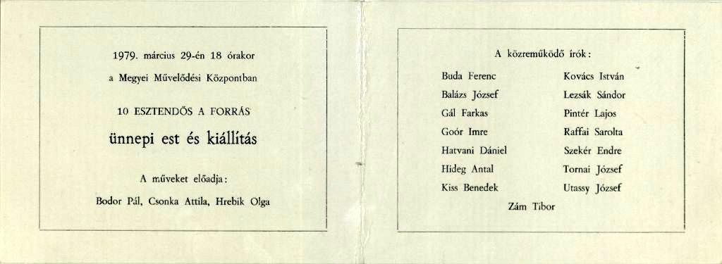 Ünnepi est a Forrás 10 éves jubileuma alkalmából, 1979. március 29.