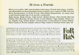 20 éves a Forrás, 1989.