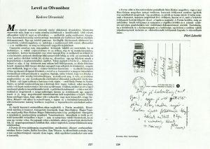 A főszerkesztő levele az olvasókhoz a folyóirat 25. évfordulója alkalmából.