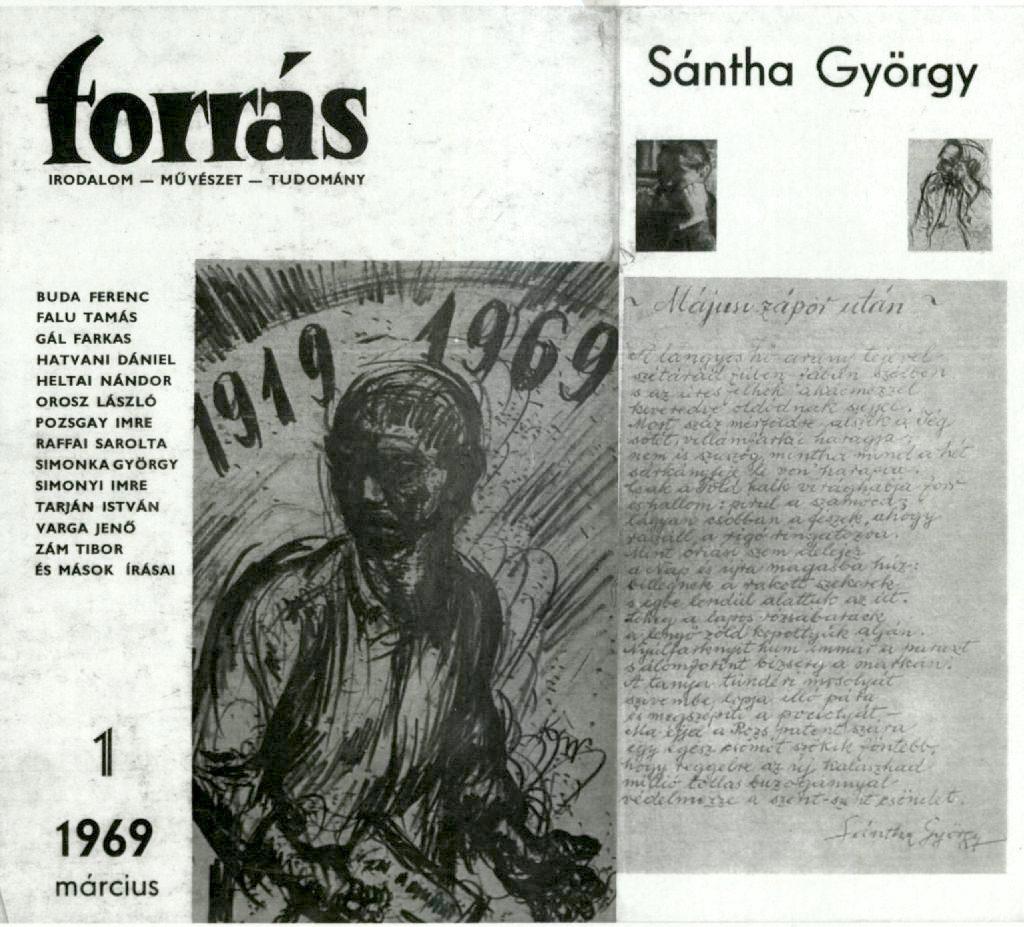 Az 1. évfolyam 1. szám címlapja, a borítófülön Sánta György Májusi eső után c. versével.