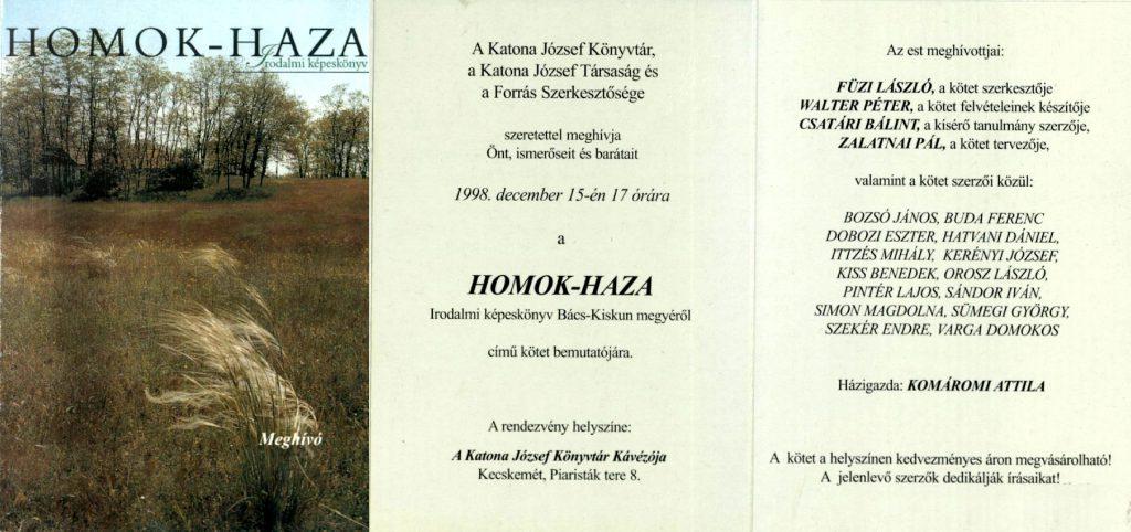 A Homok-haza c. helytörténeti kötet bemutatója 1998. december 15-én