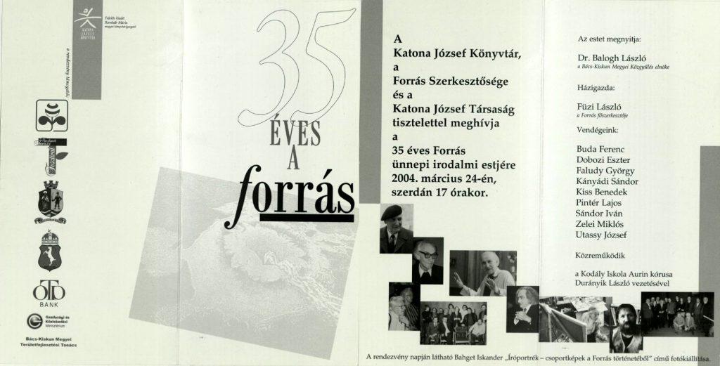 Ünnepi est a Forrás folyóirat indulásának 35. évfordulója alkalmából, 2004. március 25.