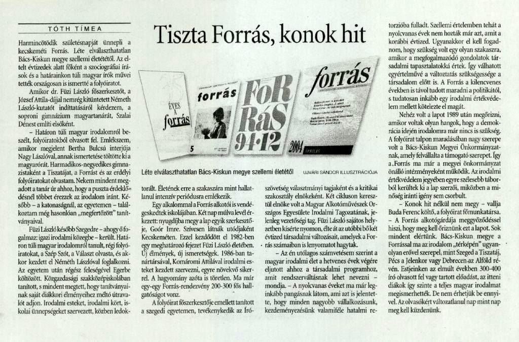 Tóth Tímea: Tiszta forrás, konok hit - Szabad Föld, 2004. április 30.