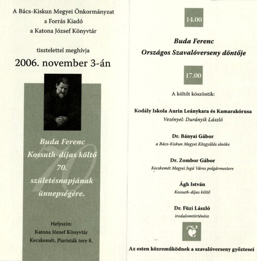 Buda Ferenc köszöntése 70. születésnapja alkalmából, 2006. november 3.