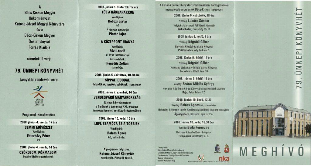 A Forrás rendezvénye a 79. Ünnepi Könyvhéten, 2008. június 5.