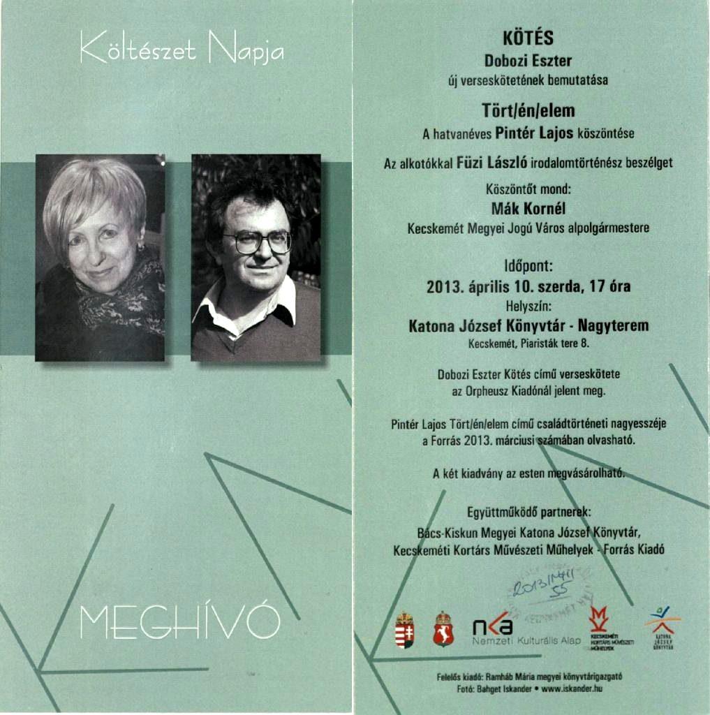 Dobozi Eszter könyvbemutatója és a 60 éves Pintér Lajos köszöntése, 2013. április 10.