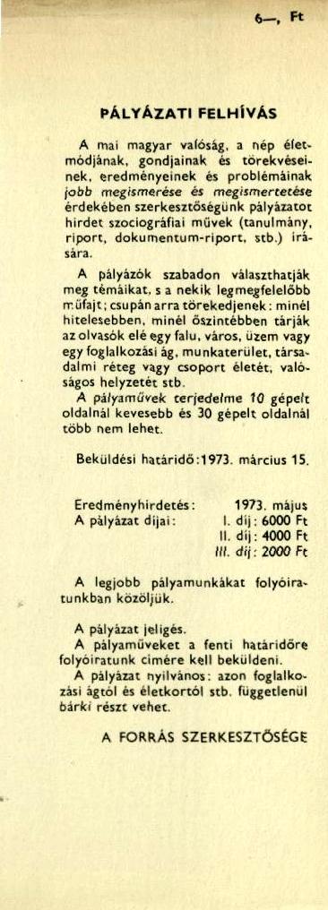 Pályázati felhívás 1973-ban