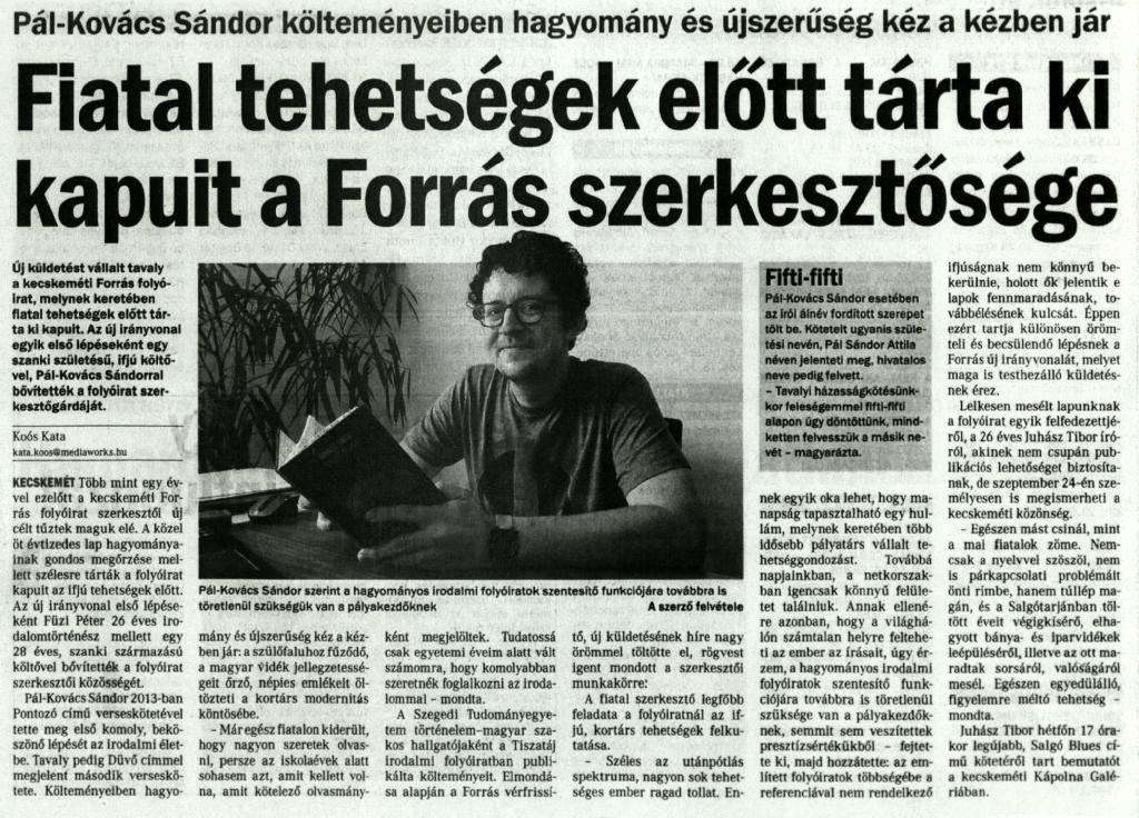 Fiatal tehetségek előtt tárta ki kapuit a Forrás szerkesztősége - Petőfi Népe, 2018. szeptember 22.