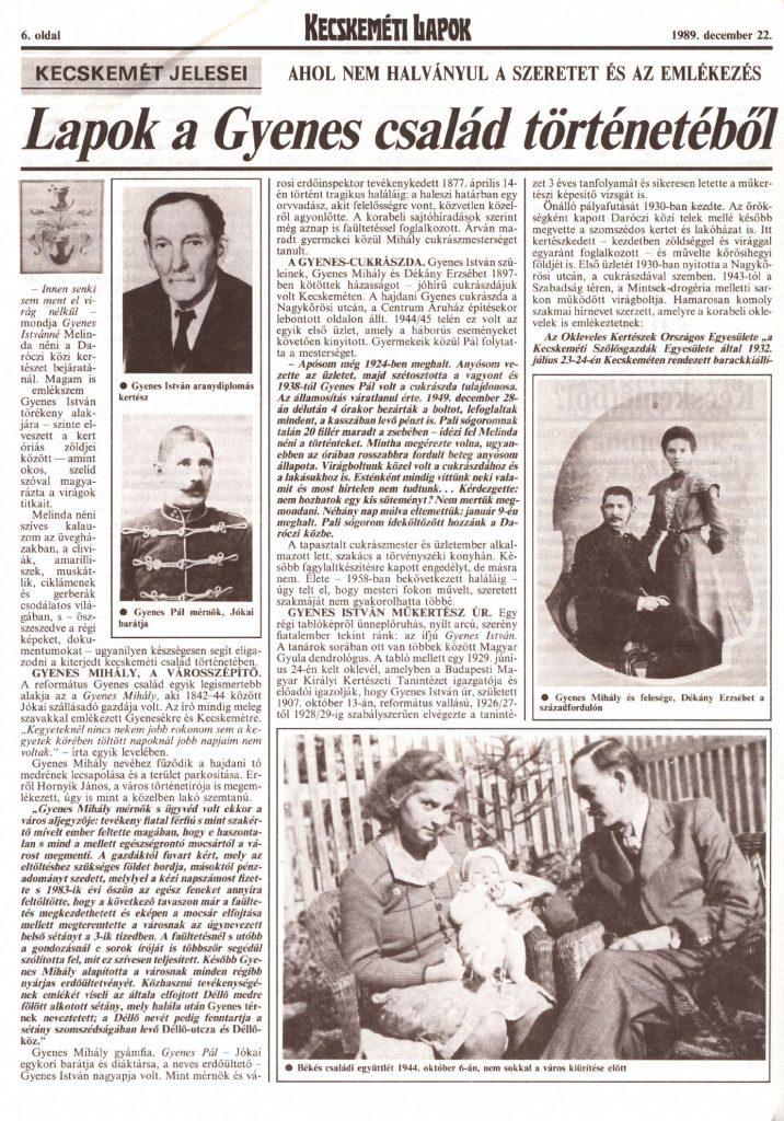 Lapok a Gyenes család történetéből