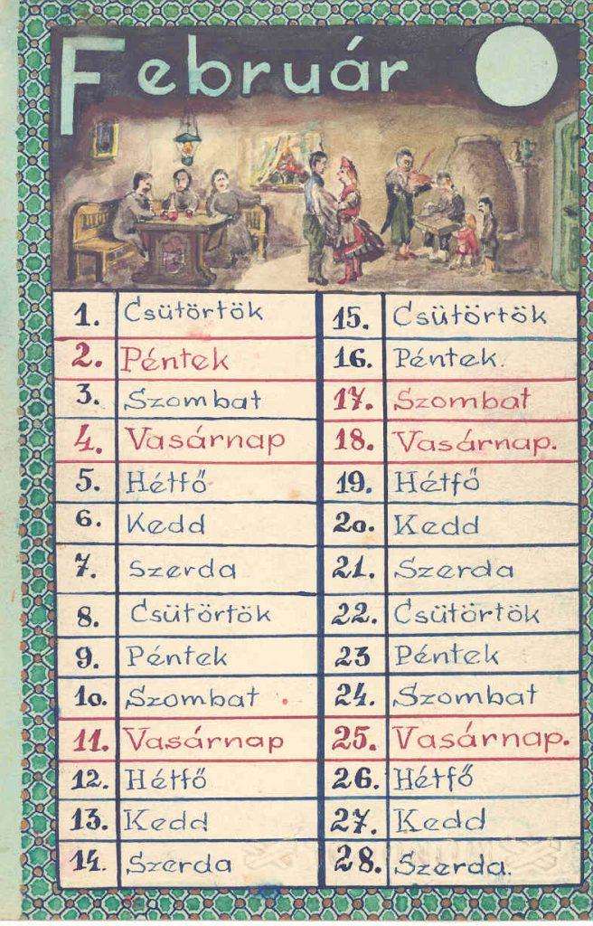 Szappanos István (1923-1999) édesanyjának rajzolt naptára 1945. február