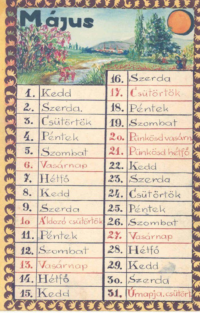 Szappanos István (1923-1999) édesanyjának rajzolt naptára 1945. május