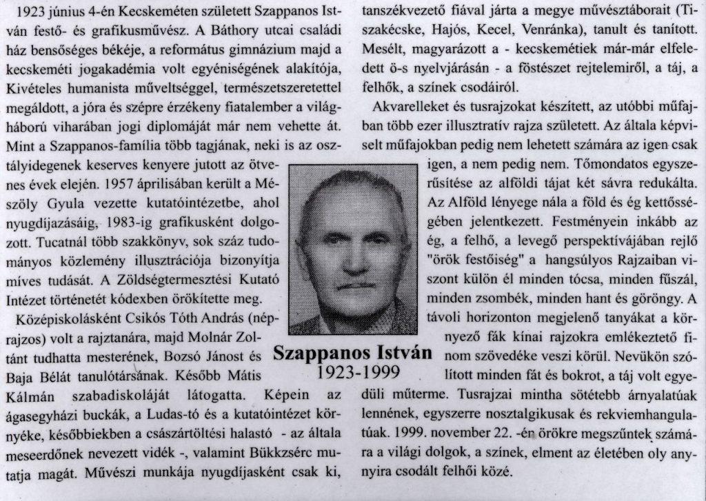 Szappanos István, 1923-1999 In: Köztér. - 2. évf. 12. sz. (1999. dec.), p. 14.
