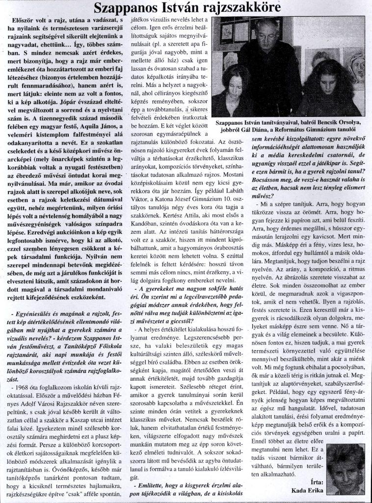 Szappanos István rajzszakköre / Kada Erika. - In: Köztér, 2001. január