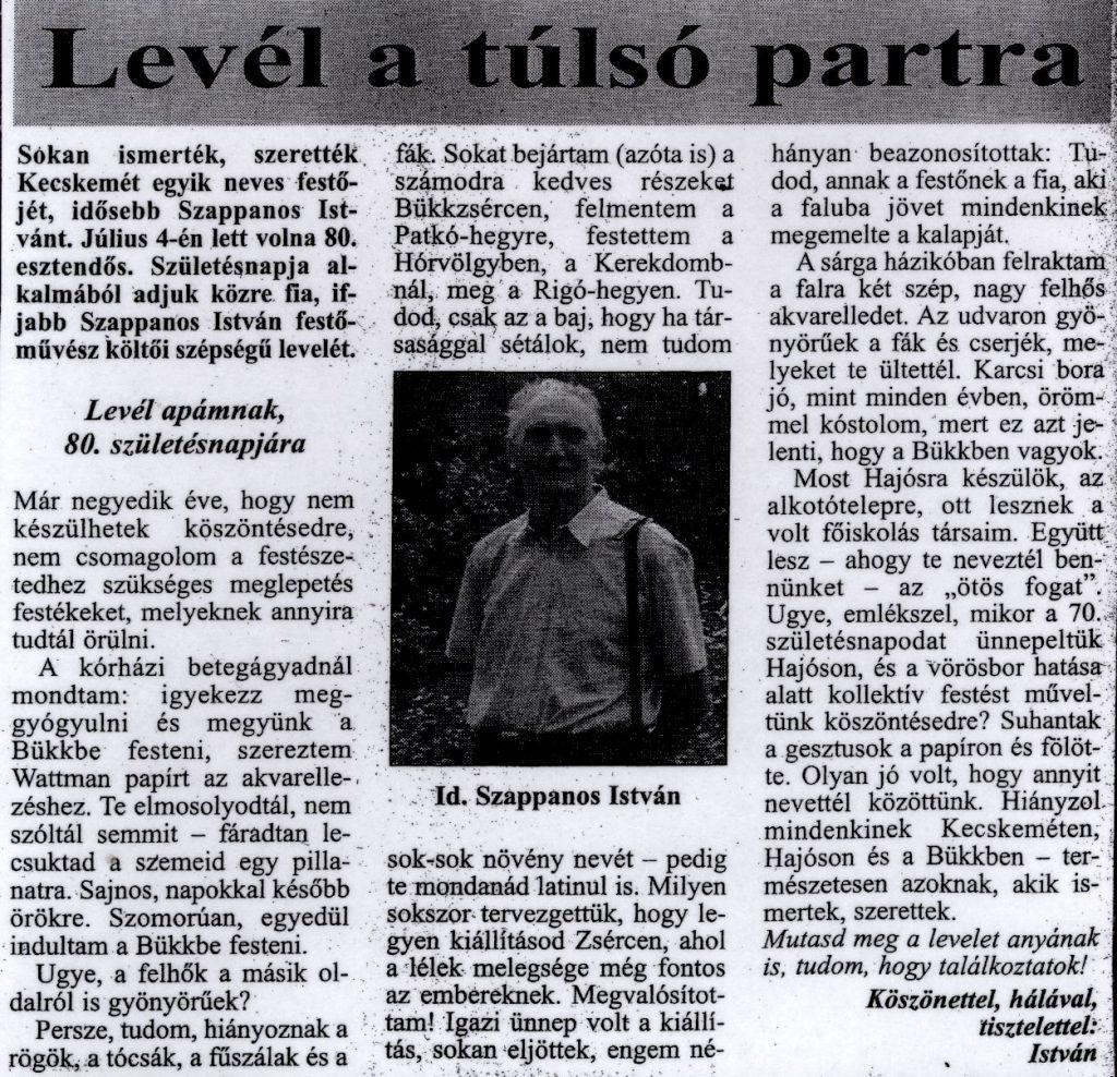 Levél a túlsó partra In: Kecskeméti lapok. - 99. évf. 26. sz. (2003. júl. 10.)