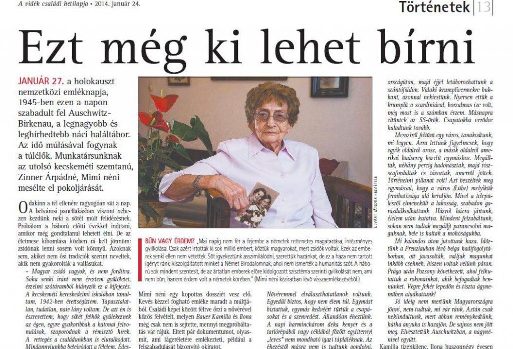 """""""Ezt még ki lehet bírni"""" - In: Szabad Föld, 2014. január 24. - p. 13."""