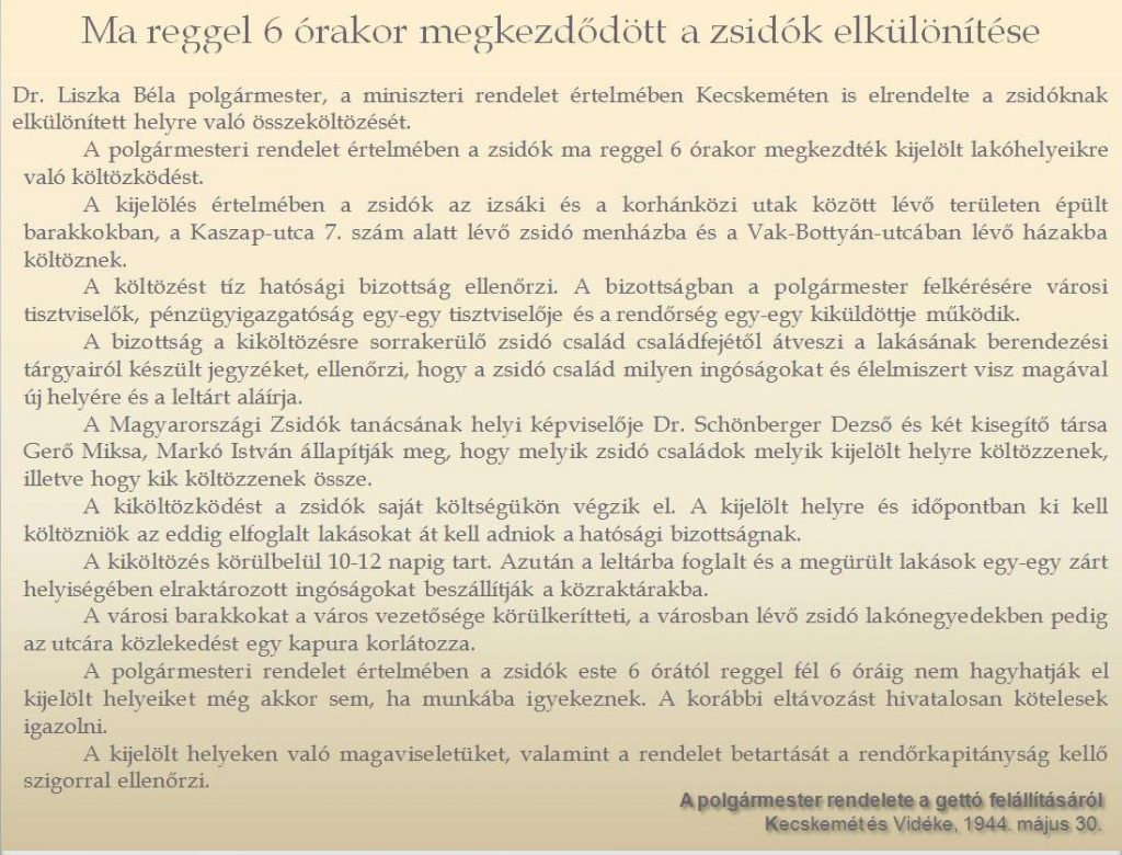 A polgármester rendelete a gettó felállításáról - In: Kecskemét és Vidéke, 1944. május 30.