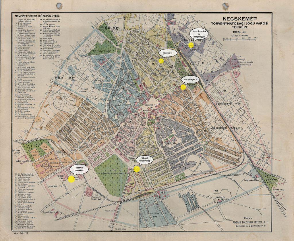 Kecskemét térképe a zsidó gettó helyszíneivel