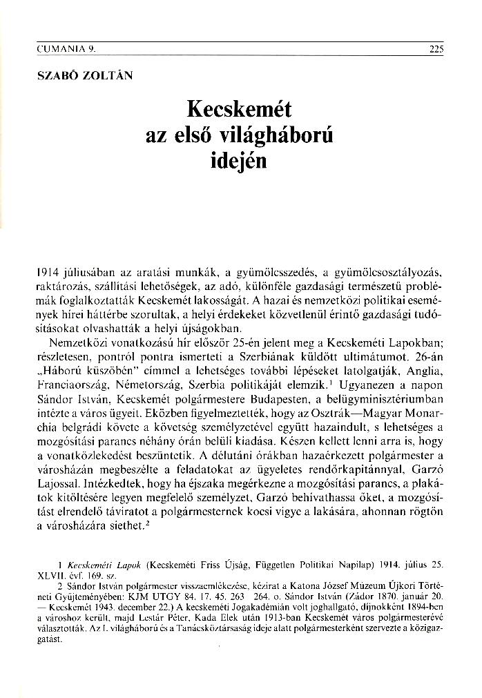 Szabó Zoltán: Kecskemét az első világháború idején