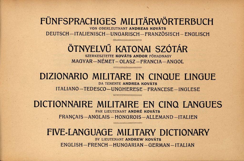 Ötnyelvű katonai szótár