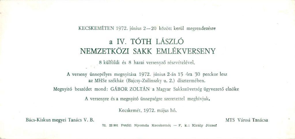 Az 1972. június 2-án megrendezett Tóth László Emlékverseny meghívója