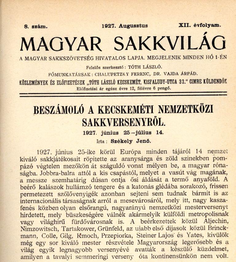 Magyar Sakkvilág - 1927. augusztus