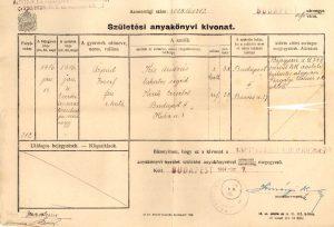 Kiss Árpád születési anyakönyvi kivonata