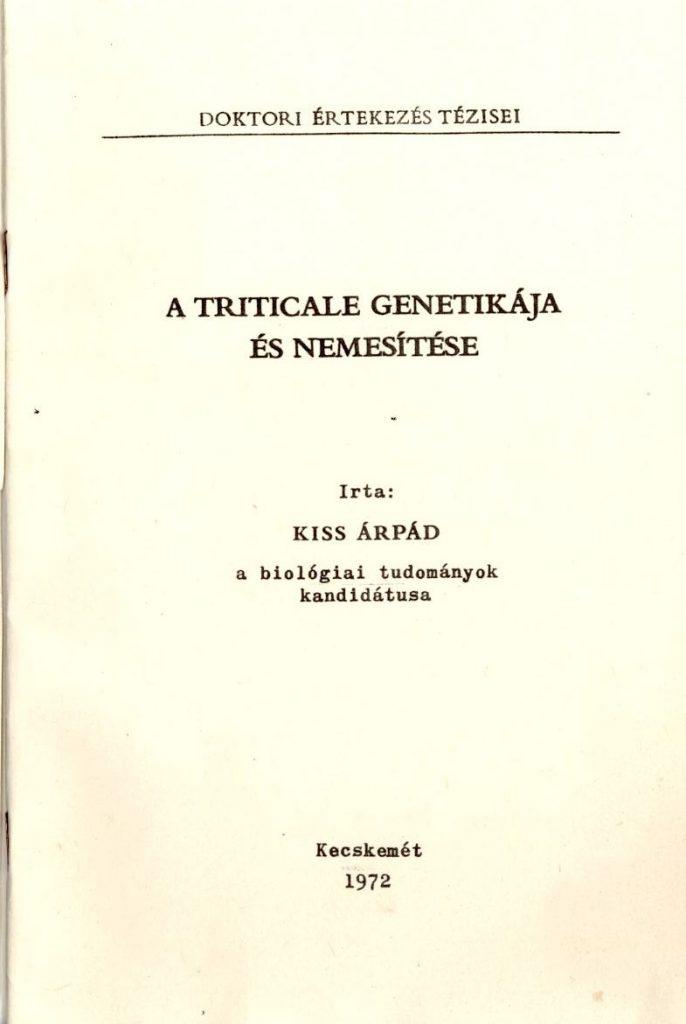 A triticale genetikája és nemesítése
