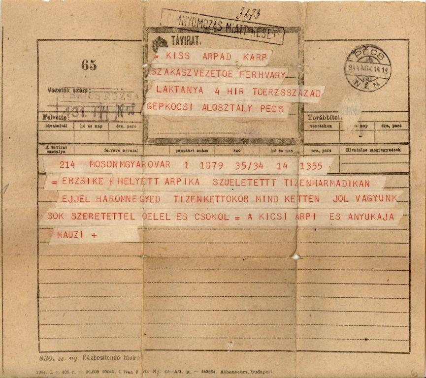 Távirat Kiss Árpád első gyermekének születéséről - 1944. november 14.