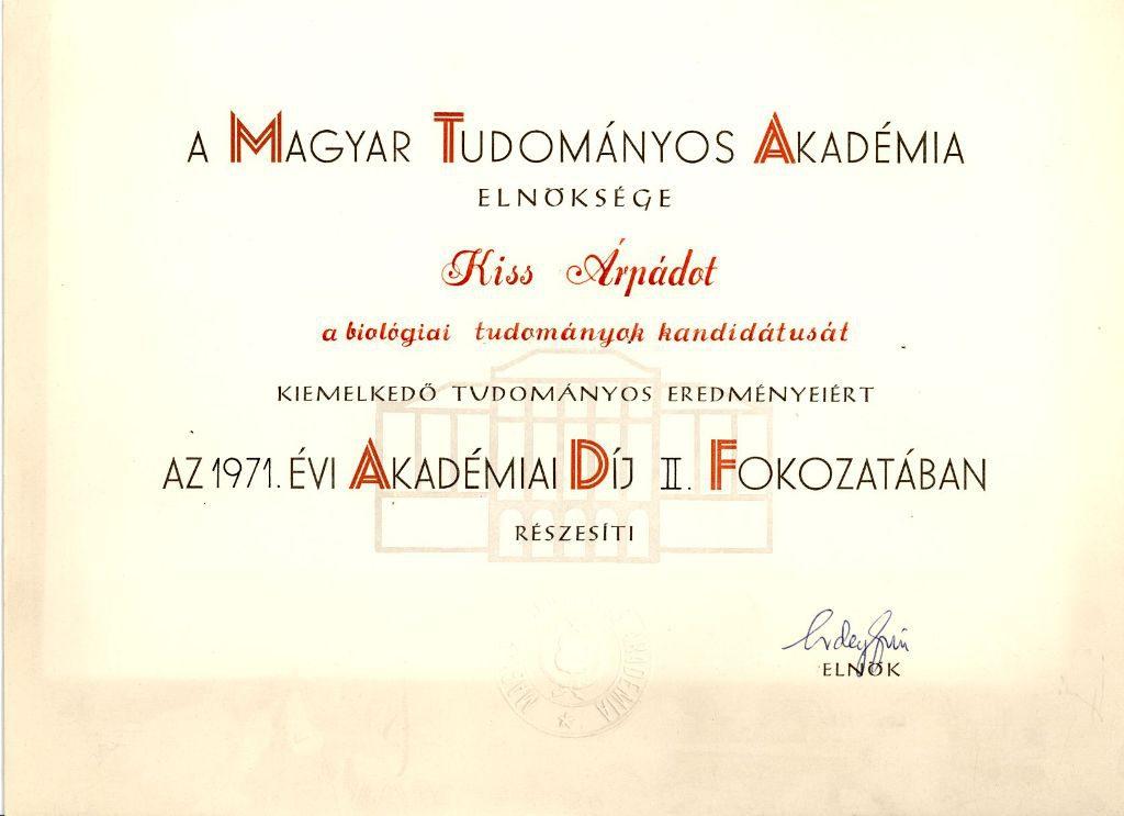 Magyar Tudományos Akadémia díja