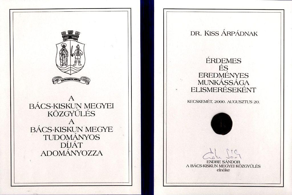 Bács-Kiskun megye Tudományos díja
