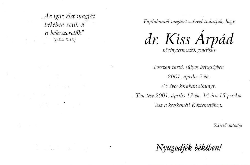 dr. Kiss Árpád gyászlapja