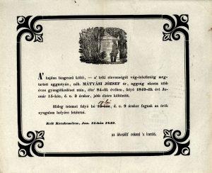 Mátyási József gyászjelentése
