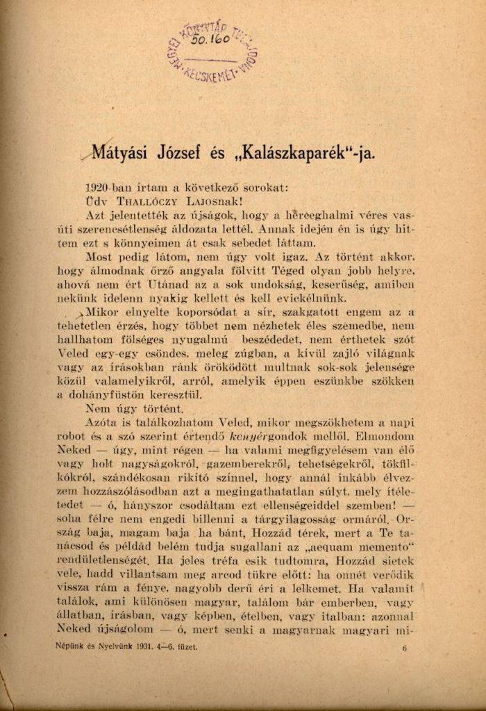Mészöly Gedeon írása 1931-ben, a Népünk és Nyelvünk folyóiratban
